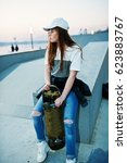 young teenage urban girl with... | Shutterstock . vector #623883767