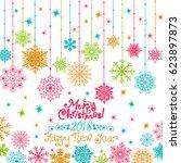 invitation new years christmas... | Shutterstock .eps vector #623897873
