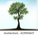 engraved tree. vector... | Shutterstock .eps vector #623904647