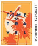 time to travel and summer... | Shutterstock .eps vector #623926157