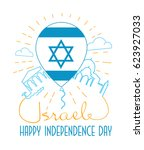 greeting card israel... | Shutterstock .eps vector #623927033