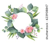 watercolor hand painted round... | Shutterstock . vector #623938847