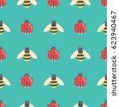 Ladybug And Bee Cartoon...