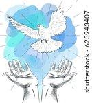 Sketch Of Hands Let Go Dove Of...