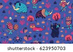 seamless patterns with cartoon... | Shutterstock .eps vector #623950703