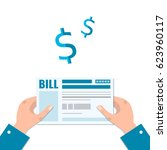 man's hands holds the bill for... | Shutterstock .eps vector #623960117