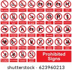prohibited signs on a white... | Shutterstock .eps vector #623960213
