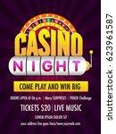 casino night flyer design... | Shutterstock .eps vector #623961587