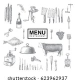 hand drawn vintage sketch set... | Shutterstock .eps vector #623962937