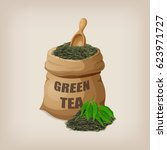 green dry tea leaves in a sack. ... | Shutterstock .eps vector #623971727