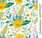 beautiful floral seamless... | Shutterstock .eps vector #623976137