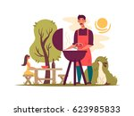 man preparing barbecue on grill | Shutterstock .eps vector #623985833