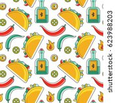 seamless vector mexican pattern ... | Shutterstock .eps vector #623988203