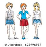 happy young adult girls female... | Shutterstock . vector #623996987