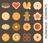 set of assorted cookies in flat ... | Shutterstock .eps vector #624004673