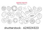 exotic fruits and tropical... | Shutterstock .eps vector #624024323