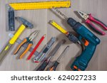 different tools on a wooden...