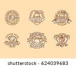 coffee badge food thin line... | Shutterstock .eps vector #624039683
