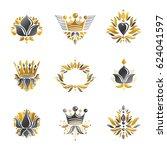 royal symbols  flowers  floral... | Shutterstock . vector #624041597