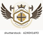 classy emblem made with eagle... | Shutterstock . vector #624041693