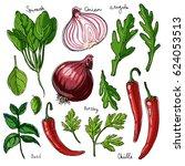 herbs. spices. italian herb... | Shutterstock .eps vector #624053513