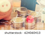 finance stack coins and piggy... | Shutterstock . vector #624060413