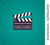 open clapperboard icon in flat... | Shutterstock .eps vector #624061343