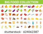 big set icons food  flat style. ... | Shutterstock .eps vector #624062387