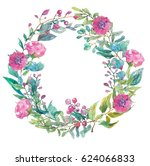 watercolor beautiful floral... | Shutterstock . vector #624066833