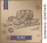 vintage deli meats platter... | Shutterstock .eps vector #624071633