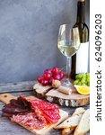 wine snack set. glass of white... | Shutterstock . vector #624096203