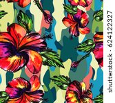 bright tropical floral... | Shutterstock . vector #624122327