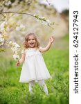 pretty child girl in blossom... | Shutterstock . vector #624127943
