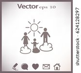 flat icon. happy family and sun.... | Shutterstock .eps vector #624128297
