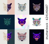 set of panther logos. abstract... | Shutterstock .eps vector #624140687