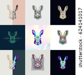 set of hare logos. abstract... | Shutterstock .eps vector #624141017