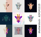 set of giraffe logos. abstract... | Shutterstock .eps vector #624141113