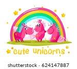 vector portrait of flat funny...   Shutterstock .eps vector #624147887