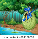 forest scene with blue dragon... | Shutterstock .eps vector #624150857