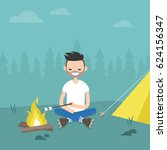 camping in forest. young... | Shutterstock .eps vector #624156347
