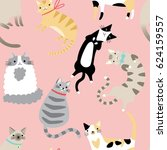 seamless pattern with cute... | Shutterstock .eps vector #624159557