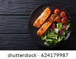 salmon in honey soy glaze and... | Shutterstock . vector #624179987