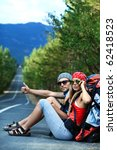 two young people tourists... | Shutterstock . vector #62418523