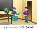 a vector illustration of muslim ... | Shutterstock .eps vector #624196667