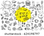 vector set with food and drink... | Shutterstock .eps vector #624198797