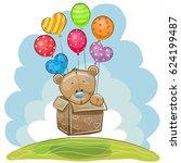 cute teddy bear in the box is... | Shutterstock .eps vector #624199487