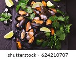 raw seafood   fresh uncooked... | Shutterstock . vector #624210707