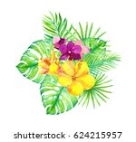 tropical leaves and exotic... | Shutterstock . vector #624215957