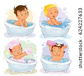 set of icons of small children... | Shutterstock . vector #624227633