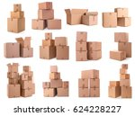 cardboard boxes on white... | Shutterstock . vector #624228227